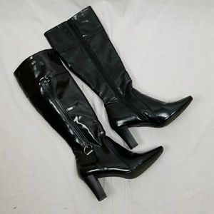 NICKELS tall BLACK HIGH HEEL BOOTS SIZE 8.5